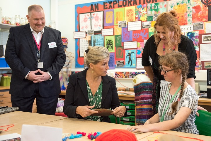 The Countess of Wessex in a weaving art class with staff and students at Henshaws Specialist College