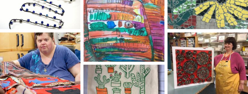 Collage featuring a range of artwork that deserves to be seen for Henshaws 21 Exhibitio including pen and ink drawings, prints, mosaic, sculpture and quilt