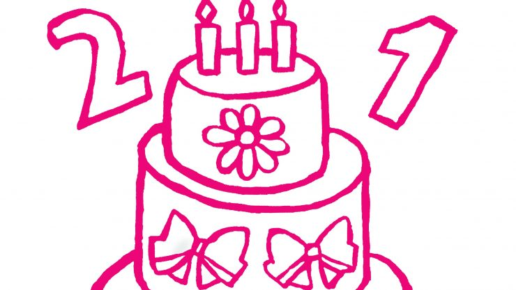Close up of 21st birthday cake logo designed by Art Maker Jenna featuring pink flowers, ribbons and a tiered cake with candles