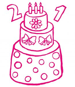 Pink outlined 21st birthday cake with three tiers featuring flowers, spots and bows