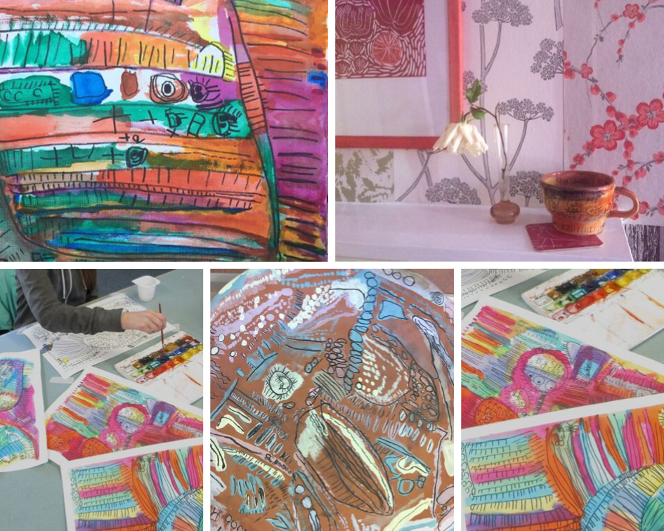 Collage of Abbey's artwork including ceramic bowl with pastel decorations and coloured canvases