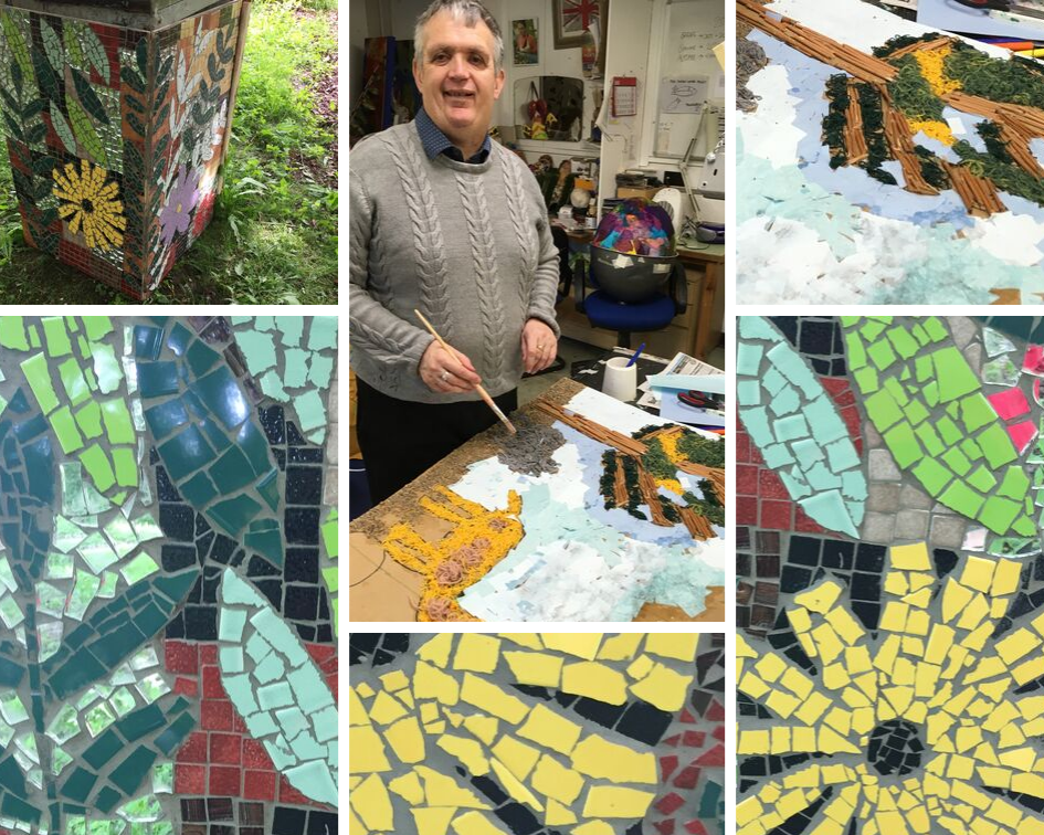 Collage of images including Andrew painting, Andrew's mosaic earth plinth and details of yellow tiled mosaic sunflowers and green tiled leaves for Henshaws 21 Exhibition
