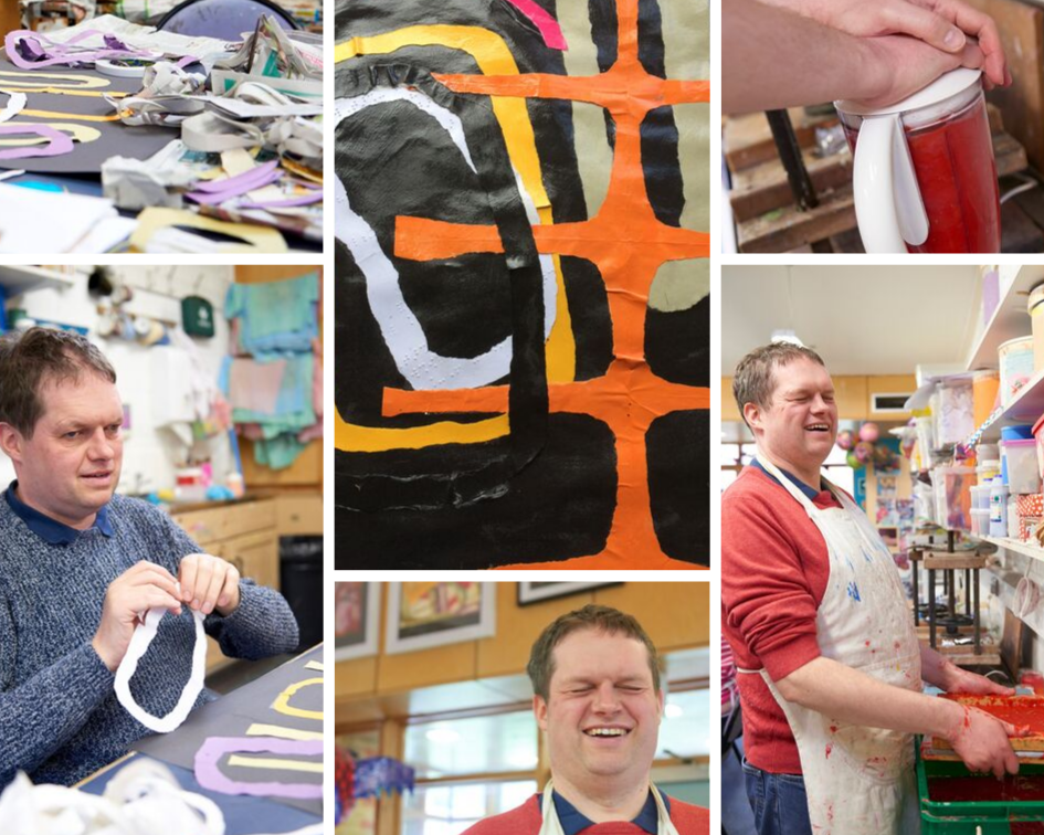 Collage of photos including Andrew creating paper, tearing paper pieces, using the blender to pulp and standing in front of some of his artwork