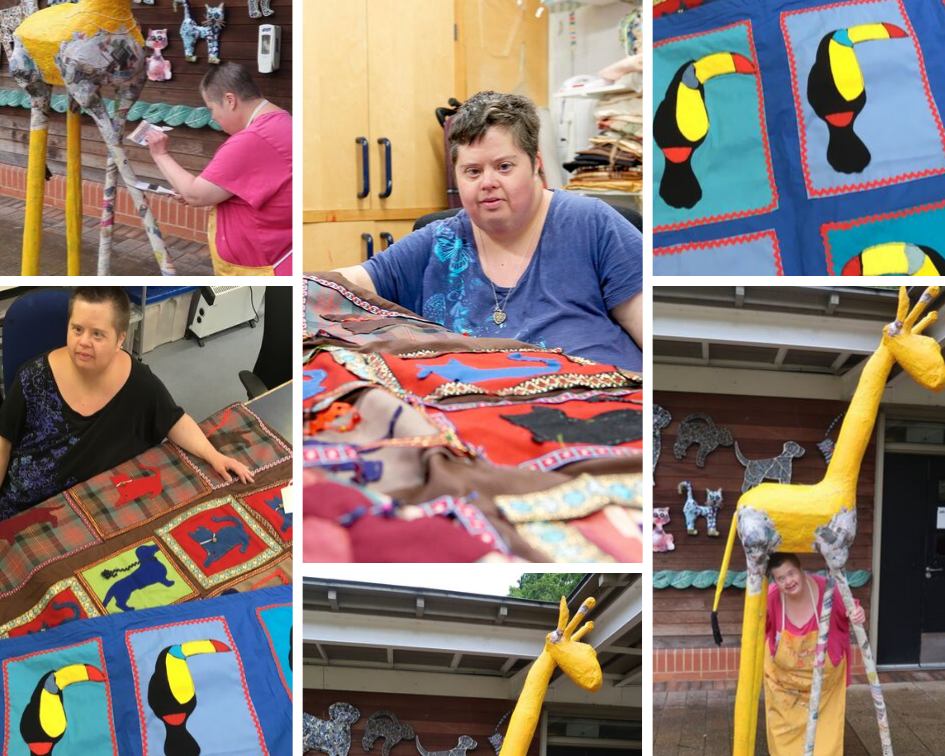 Art Maker Christine with some of her work including toucan quilts and a large paper mache giraffe