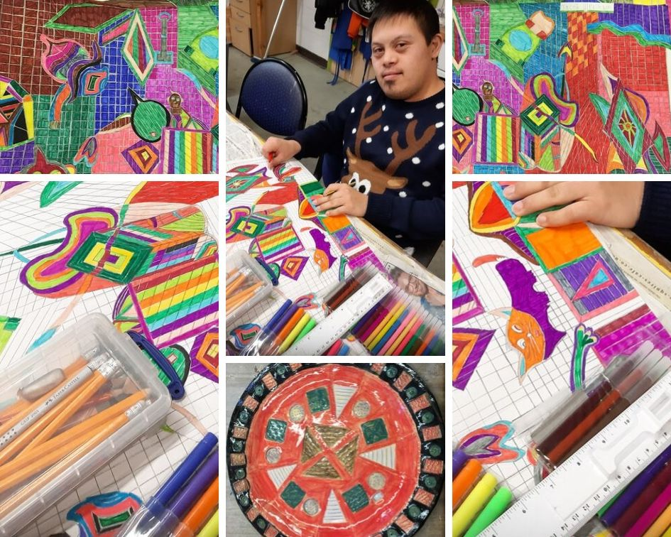 Art Maker Jacob's geometric colourful designs including large scale drawings and ceramics