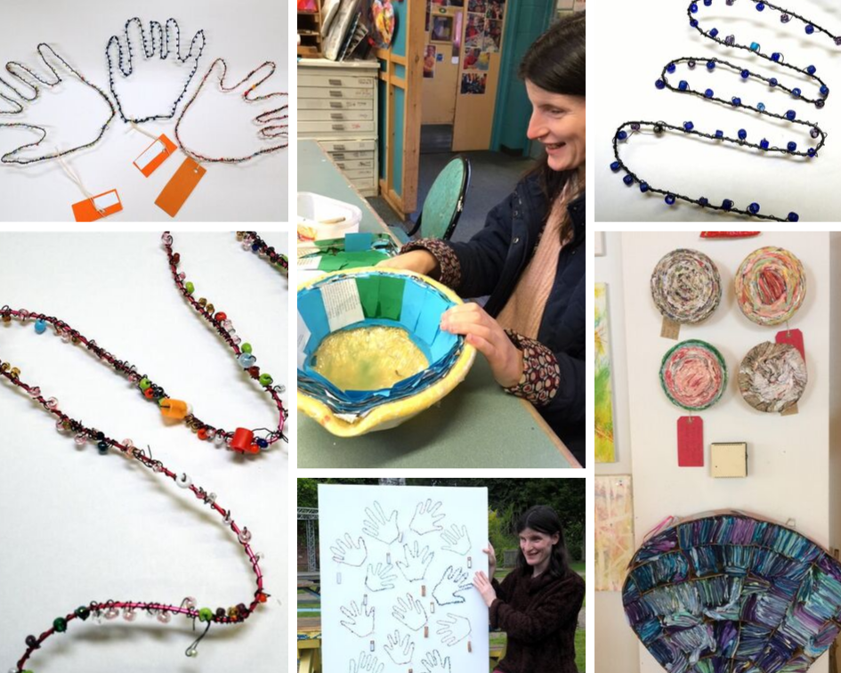 Collage of photos depicting Kez's paper sculptures and decorative beaded hands for Henshaws 21 Exhibition