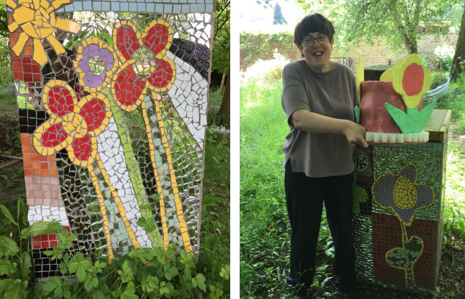Art Maker Sally stands next to her Earth Plinth mosaic sculpture in Henshaws gardens alongside a close up image of the detail of two red and yellow mosaic flowers and a yellow sunburst