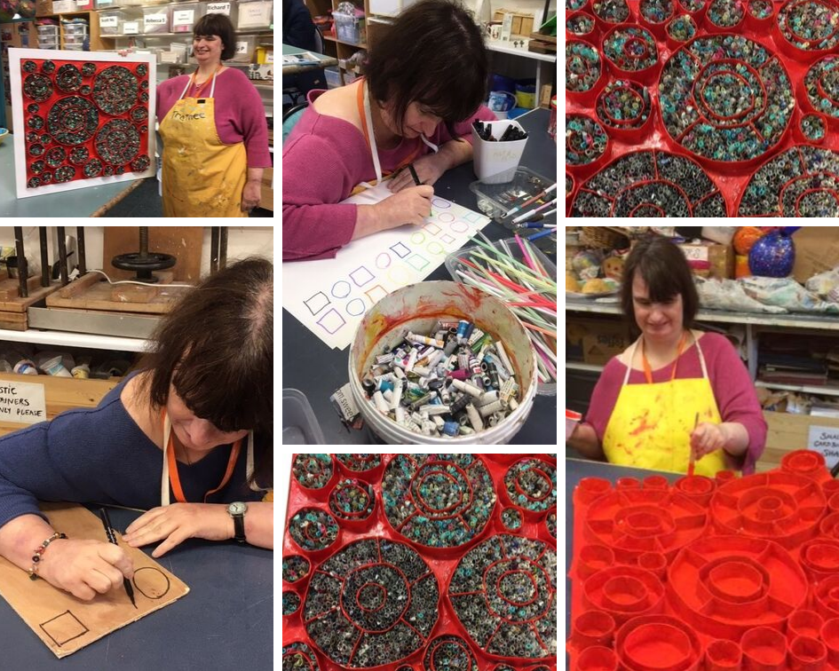 Collage of photos with Art Maker Vicky including her paper quilling pieces, drawing out the designs and standing with her artworks