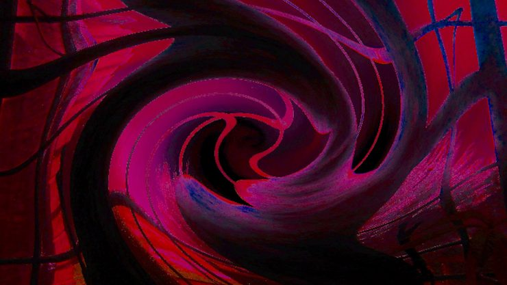 Image of swirling red and purple and black mist