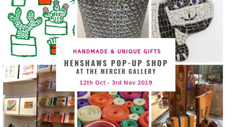 Collage of images featuring work for sale at the Henshaws Pop-Up Shop at the Mercer art Gallery including jewellery, prints and mosaics