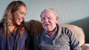 Image of Tasha with her Grandad in new play 'Jadek' from imagine if theatre