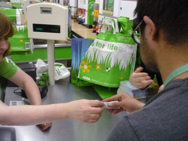 Photo of a checkout counter at Asda