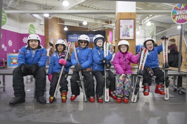 Group of Henshaws young people dressed ready to ski