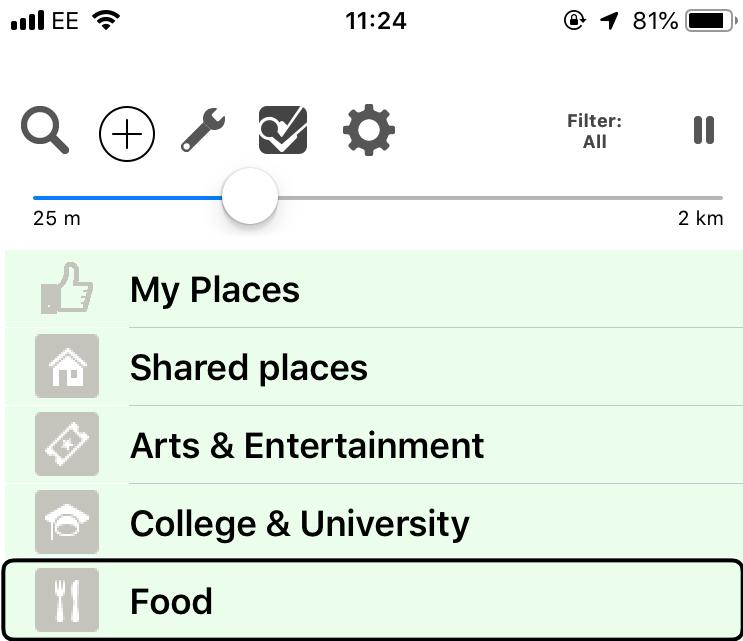 Screenshot of BlindSquare app highlighting the food option