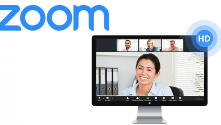 Image shows a PC screen with the Zoom app open. There is also the blue Zoom logo at the top of the image.