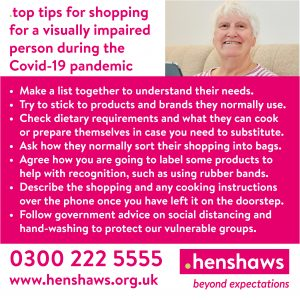 Image shows an elderly lady smiling with the text 'top tips for shopping for a visually impaired person.'