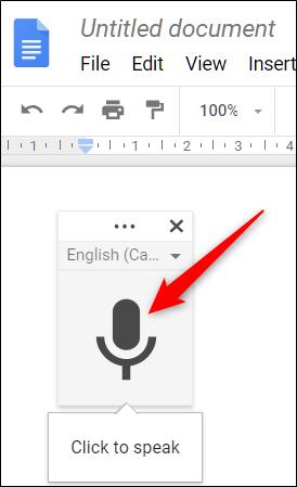 Google Docs dictation