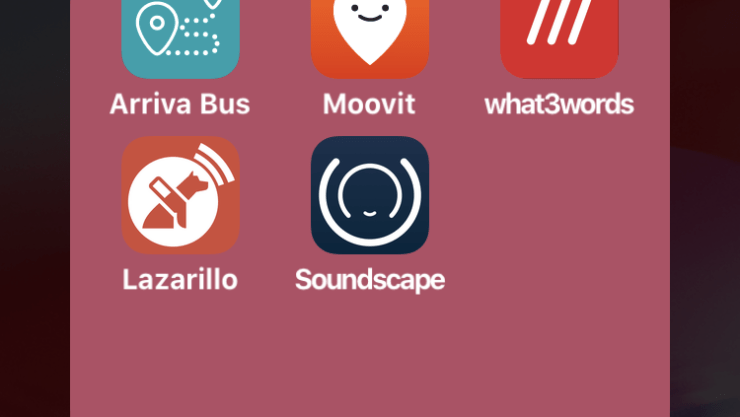 A screenshot of a travel apps folder. Along the top row are the apps Arriva Bus UK, Moovit and What3words. Along the bottom are Lazarillo and Soundscape.