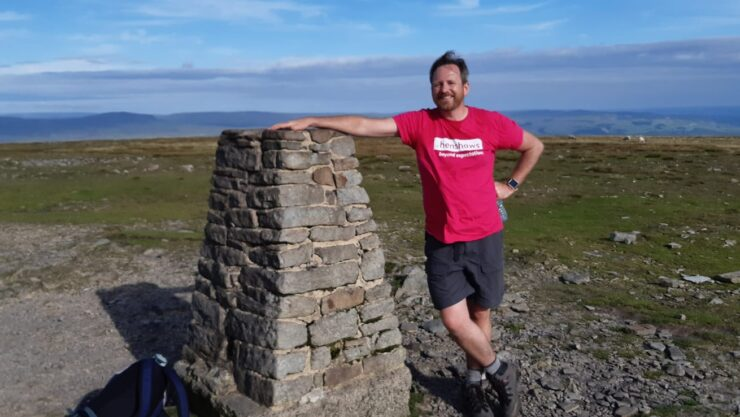 Stephen next to one of Yorkshire 3 Peaks