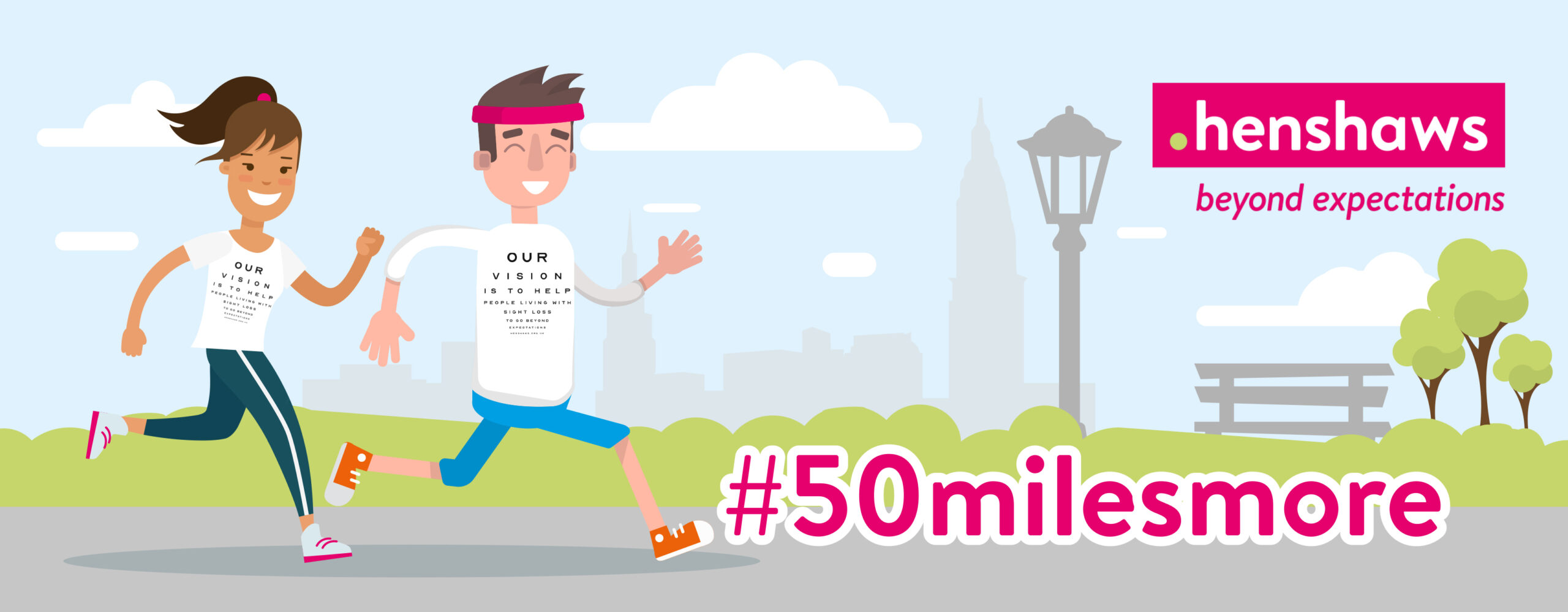 Couple Running Cartoon with the text #50MilesMore