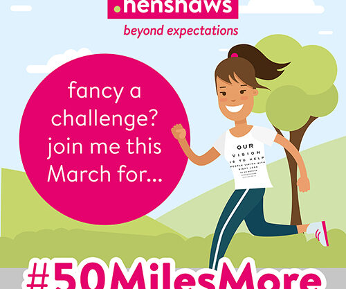Cartoon running girl with the text 'Fancy a challenge? join me this March for #50milesmore