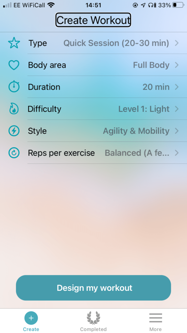A screenshot of the Jumpy Cat Create Screen, showing the six adjustable workout options