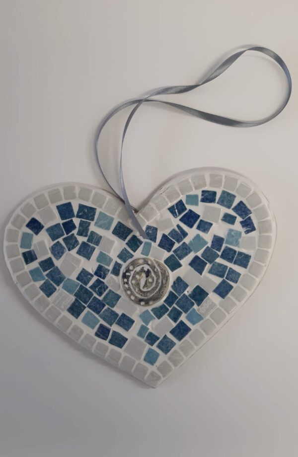 Blue and grey mosaic heart
