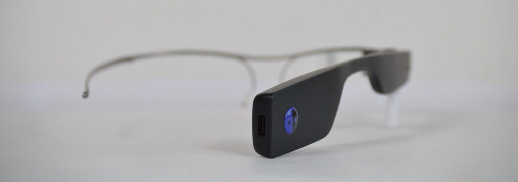 Envision Glasses with the USB input port visible