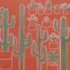 hand drawn cactus print in orange green and white