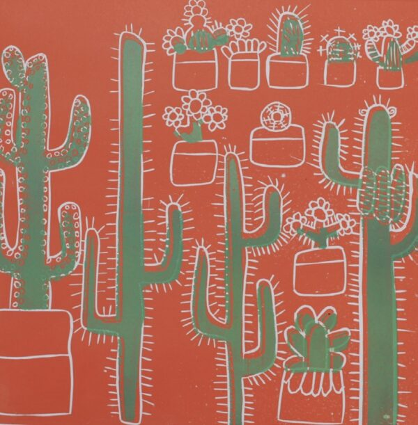 hand drawn cactus print in orange green and white