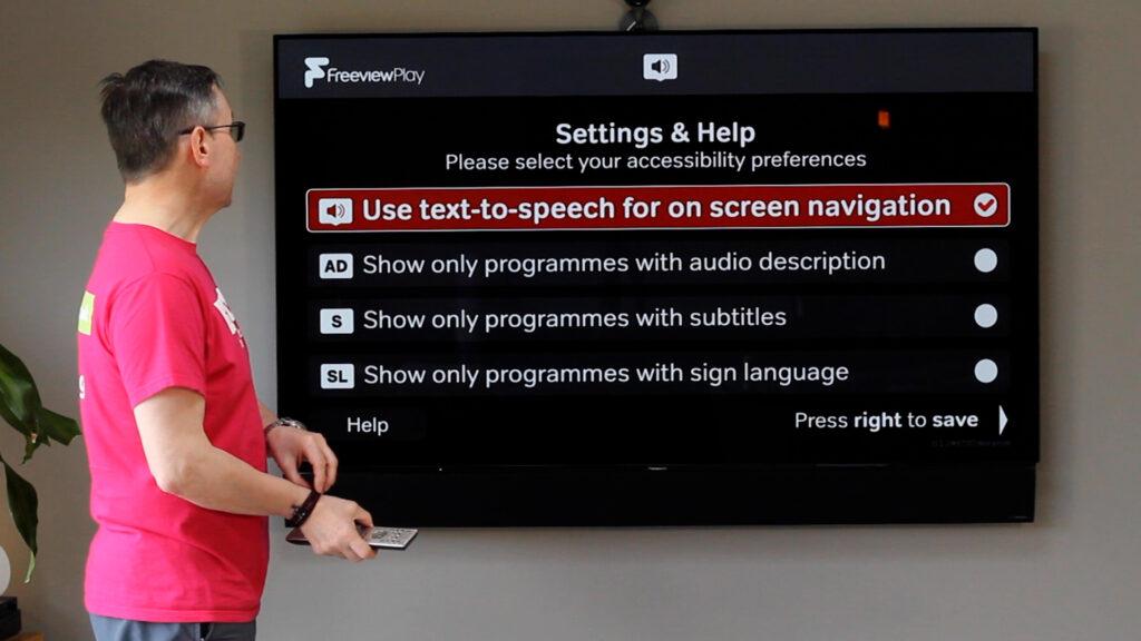 Main menu of accessible TV guide