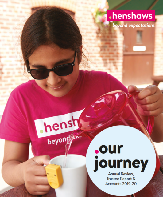 Cover of annual report 2019-20 showing girl pouring drink
